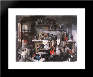 The Mask Maker: Modern Black Framed Art Print by Vilmos Aba Novak