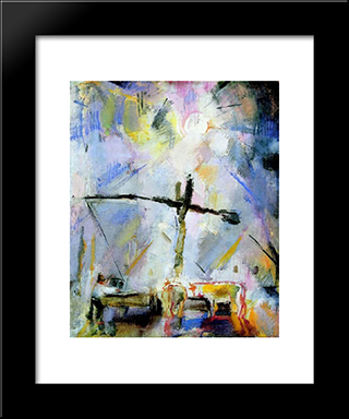 Well Sweep (Watering At The Well Sweep): Modern Black Framed Art Print by Vilmos Aba Novak