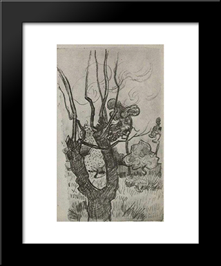 A Bare Treetop In The Garden Of The Asylum: Modern Black Framed Art Print by Vincent van Gogh