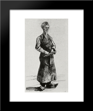 A Carpenter With Apron: Modern Black Framed Art Print by Vincent van Gogh