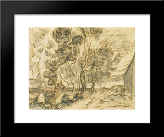 A Corner Of The Asylum And The Garden With A Heavy, Sawn-Off Tree: Modern Black Framed Art Print by Vincent van Gogh
