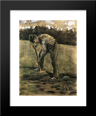 A Digger: Modern Black Framed Art Print by Vincent van Gogh