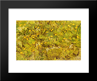 A Field Of Yellow Flowers: Modern Black Framed Art Print by Vincent van Gogh