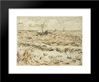 A Fishing Boat At Sea: Modern Black Framed Art Print by Vincent van Gogh