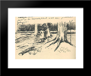 A Girl In A Wood: Modern Black Framed Art Print by Vincent van Gogh