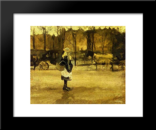 A Girl In The Street, Two Coaches In The Background: Modern Black Framed Art Print by Vincent van Gogh