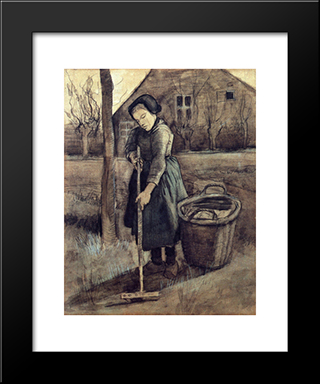 A Girl Raking: Modern Black Framed Art Print by Vincent van Gogh