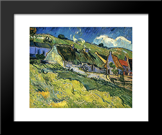 A Group Of Cottages: Modern Black Framed Art Print by Vincent van Gogh