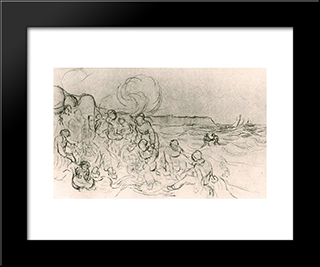 A Group Of Figures On The Beach: Modern Black Framed Art Print by Vincent van Gogh