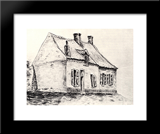 A House Magros: Modern Black Framed Art Print by Vincent van Gogh