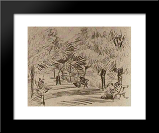 A Lane In The Public Garden With Benches: Modern Black Framed Art Print by Vincent van Gogh