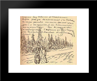 A Lane Of Cypresses With A Couple Walking: Modern Black Framed Art Print by Vincent van Gogh