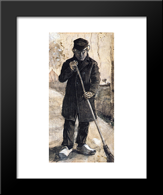 A Man With A Broom: Modern Black Framed Art Print by Vincent van Gogh