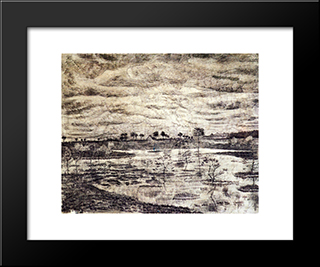 A Marsh: Modern Black Framed Art Print by Vincent van Gogh