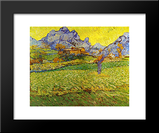 A Meadow In The Mountains: Modern Black Framed Art Print by Vincent van Gogh