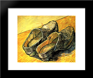 A Pair Of Leather Clogs: Modern Black Framed Art Print by Vincent van Gogh