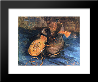 A Pair Of Shoes: Modern Black Framed Art Print by Vincent van Gogh