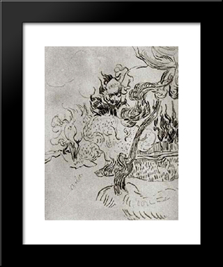 A Pine Tree And Cypresses In The Garden Of The Asylum: Modern Black Framed Art Print by Vincent van Gogh