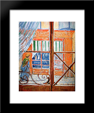 A Pork-Butcher'S Shop Seen From A Window: Modern Black Framed Art Print by Vincent van Gogh