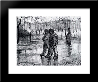 A Public Garden With People Walking In The Rain: Modern Black Framed Art Print by Vincent van Gogh