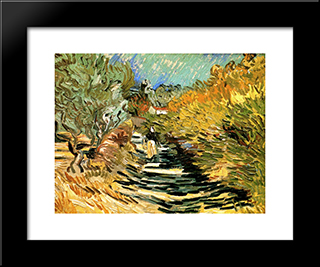 A Road In St. Remy With Female Figures: Modern Black Framed Art Print by Vincent van Gogh