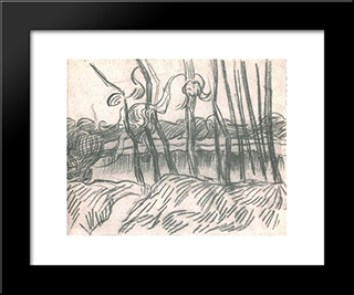 A Row Of Bare Trees: Modern Black Framed Art Print by Vincent van Gogh