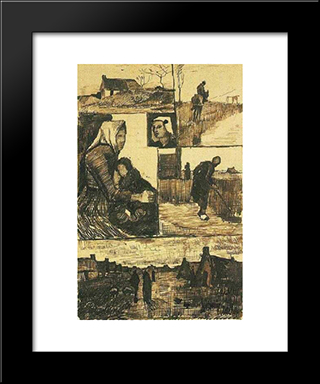 A Sheet With Sketches: Modern Black Framed Art Print by Vincent van Gogh