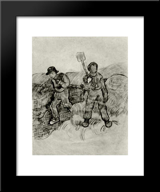A Sower And A Man With A Spade: Modern Black Framed Art Print by Vincent van Gogh