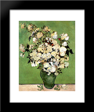 A Vase Of Roses: Modern Black Framed Art Print by Vincent van Gogh