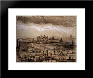 A View Of Paris With The Op: Modern Black Framed Art Print by Vincent van Gogh