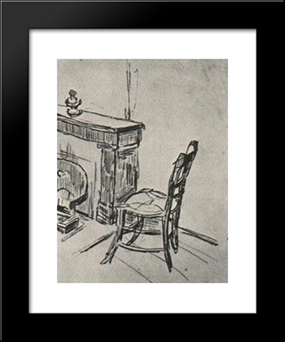 Chair Near The Stove: Modern Black Framed Art Print by Vincent van Gogh