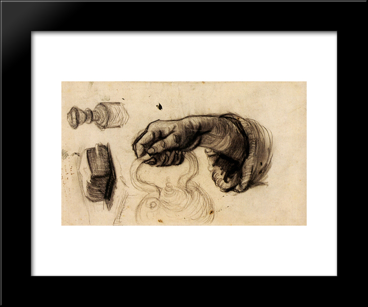 Hand With A Pot, The Knob Of A Chair And A Hunk Of Bread: Modern Black Framed Art Print by Vincent van Gogh