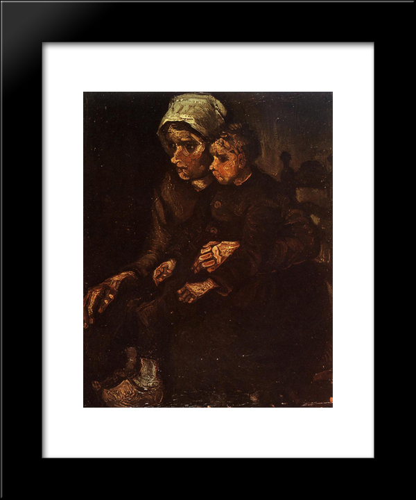 Peasant Woman With A Child In Her Lap: Modern Black Framed Art Print by Vincent van Gogh