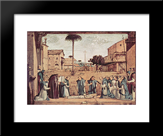 Burial Of St. Jerome: Modern Black Framed Art Print by Vittore Carpaccio