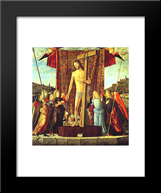 Christ With The Symbols Of The Passion Surrounded By Angels: Modern Black Framed Art Print by Vittore Carpaccio