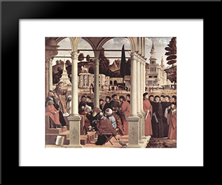 Debate Of St. Stephen: Modern Black Framed Art Print by Vittore Carpaccio