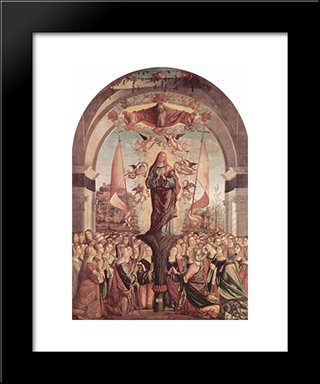 Glorification Of St. Ursula And Her Companions: Modern Black Framed Art Print by Vittore Carpaccio