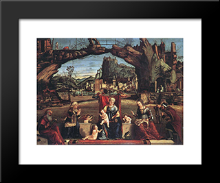 Holy Conversation: Modern Black Framed Art Print by Vittore Carpaccio