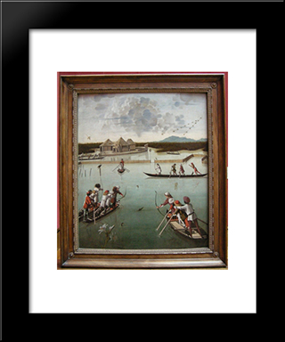 Hunting On The Lagoon: Modern Black Framed Art Print by Vittore Carpaccio
