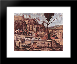 Lamentation Of Christ: Modern Black Framed Art Print by Vittore Carpaccio