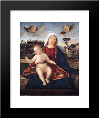 Madonna And Blessing Child: Modern Black Framed Art Print by Vittore Carpaccio