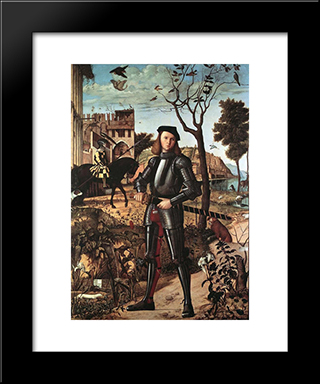 Portrait Of A Knight: Modern Black Framed Art Print by Vittore Carpaccio