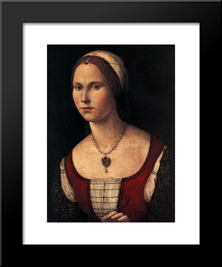 Portrait Of A Young Woman: Modern Black Framed Art Print by Vittore Carpaccio