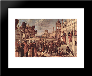 St. Stephen Is Consecrated Deacon: Modern Black Framed Art Print by Vittore Carpaccio