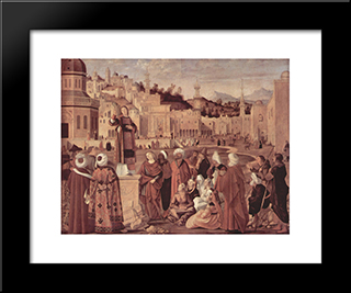 St. Stephen Preaching: Modern Black Framed Art Print by Vittore Carpaccio