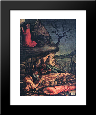 The Agony In The Garden: Modern Black Framed Art Print by Vittore Carpaccio