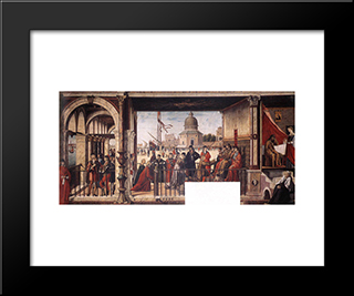 The Arrival Of The English Ambassadors: Modern Black Framed Art Print by Vittore Carpaccio