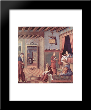 The Birth Of The Virgin: Modern Black Framed Art Print by Vittore Carpaccio