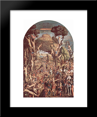 The Crucifixion And The Glorification The Ten Thousand Martyrs On Mount Ararat: Modern Black Framed Art Print by Vittore Carpaccio