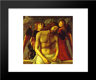 The Dead Christ Supported By Angels.: Modern Black Framed Art Print by Vittore Carpaccio